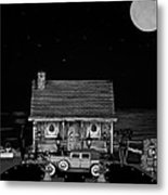 Miniature Log Cabin Scene With Old Time Vintage Classic 1930 Packard Labaron In Black And White Metal Print by Leslie Crotty
