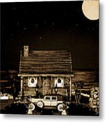 Miniature Log Cabin Scene With Old Vintage Classic 1930 Packard Labaron In Sepia Color Metal Print