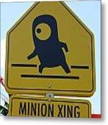 Minion Crossing Metal Print