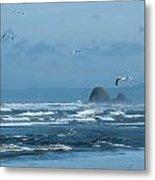 Misty Copalis Rock And Gulls Metal Print