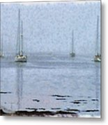 Misty Sails Upon The Water Metal Print