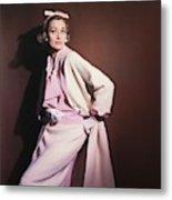 Model Wearing White Coat Over Pink Blouse Metal Print