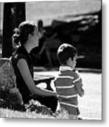 Mom And Son In The Park Metal Print