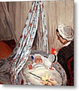 Monet's The Cradle -- Camille With Artist's Son Jean Metal Print