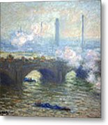 Monet's Waterloo Bridge On A Gray Day Metal Print