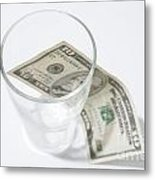 Money And A Glass Metal Print