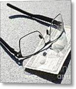 Money And Eyeglasses Metal Print