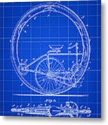 Monocycle Patent 1894 - Blue Metal Print