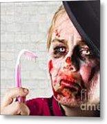 Monster Holding Sad Toothbrush. Rotting Teeth Metal Print