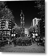 Monument To The Castellers On Rambla Nova Avenue In Central Tarragona Catalonia Spain Metal Print