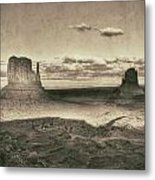 Monument Valley Aged Black And White Metal Print