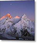 Moon Over Mount Everest Summit Metal Print