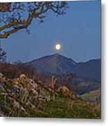 Moon Over Mt Diablo Metal Print
