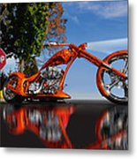 Motorcycle Reflections Metal Print