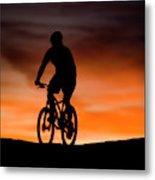 Mountain Biker At Sunset, Moab, Utah Metal Print