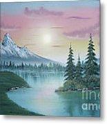 Mountain Lake Painting A La Bob Ross 1 Metal Print by Bruno Santoro