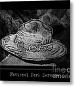 National Park Service Ranger Hat Black And White Metal Print