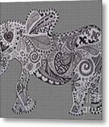 Nelly The Elephant Grey Metal Print