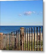 New England Beach Past A Fence Metal Print