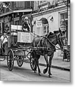 New Orleans - Carriage Ride Bw Metal Print