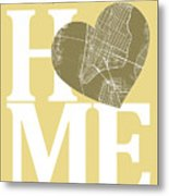 New York Map Home Heart - New York City New Yorkroad Map In A He Metal Print