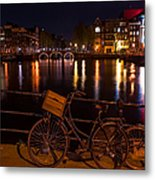 Night Lights On The Amsterdam Canals. Holland Metal Print