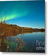 Northern Lights And Fall Colors At Calm Lake Metal Print