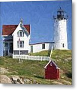 Nubble Lighthouse Maine Painterly Effect Metal Print