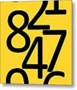 Numbers In Black And Yellow Metal Print