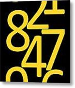 Numbers In Yellow And Black Metal Print