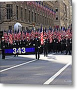 Nyc Fire Department Honoring The 343 Lost Comrades Of 911 With 343 American Flags Metal Print