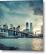 Nyc Skyline In The Sunset V1 Metal Print