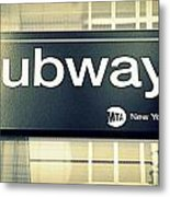 Nyc Subway Sign Metal Print