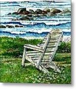 Ocean Chair Metal Print