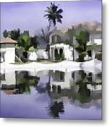 Oil Painting - Cottages And Lagoon Water Metal Print