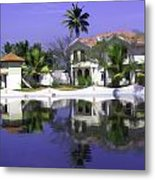 Oil Painting - Cottages And Lagoon Water In Alleppey Metal Print