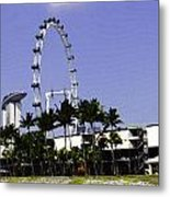 Oil Painting - Preparation Of Formula One Race With Singapore Flyer And Marina Bay Sands Metal Print
