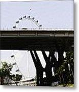 Oil Painting - Span Of The Benjamin Sheares Bridge With Its Pillars In Singapor Metal Print