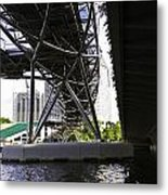 Oil Painting - View Under The Bayfront Bridge And Helix Bridge In Singapore Metal Print