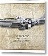 Old Crow P-51 Mustang - Map Background Metal Print
