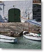 Typical Mediterranean Fishermen Boat And House In Minorca Island - Old Fishermen Villa Metal Print