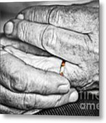 Old Hands With Wedding Band Metal Print
