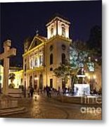 Old Portuguese Colonial Church In Macau Macao China Metal Print