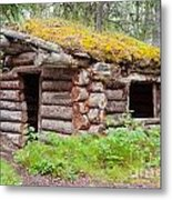 Old Traditional Log Cabin Rotting In Yukon Taiga Metal Print