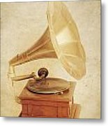 Old Vintage Gold Gramophone Photo. Classical Sound Metal Print
