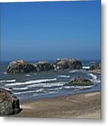 Oregon Beach And Rocks Metal Print