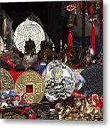 Outdoor Shop Sells Fake Chinese Antiques Metal Print by Yali Shi
