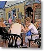 Outside Seating Metal Print
