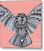 Owl In Flight Pink Metal Print