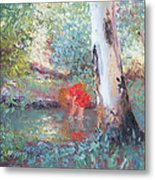 Paddling In The Creek Metal Print